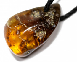 Baltic Amber Pendant  Leather Necklace, direct from Poland AM 1848