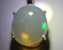 White Opal 6.20ct Platinum Finish Solid 925 Sterling Silver Pendant