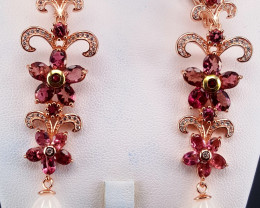 Natural Pink Tourmaline and pearls Earring with CZ.