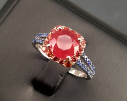Glass filled Ruby and Natural sapphire Ring.