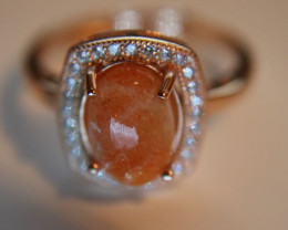 Sunstone 1.90ct Rose Gold Finish Solid 925 Sterling Silver Halo Ring, Sunst