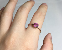 Pink Tourmaline Solid 14K Yellow Gold Ring