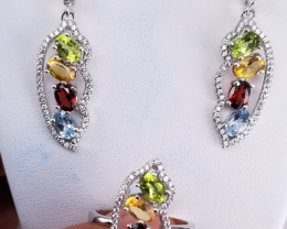 Natural Tourmaline Ring & Earrings.