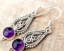 Natural Amethyst Cabs Earrings in Silver 925 17.50
