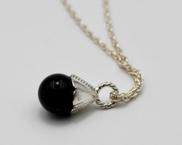 Sterling Silver & Black Onyx Pendant on Chain