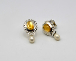 Citrine,  Freshwater Pearl, Sterling Silver Earrings