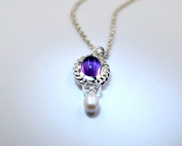 "Amethyst & Baroque Pearl Sterling Silver Pendant on 16"" Chain"