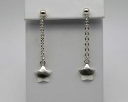 Sterling Silver Star Drop Earrings