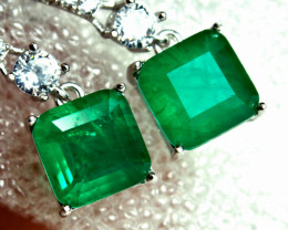13.90 Tcw. Emerald Doublet Earrings - Gorgeous