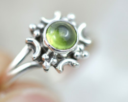 Natural Peridot  Silver Ring size 6- BU 2603
