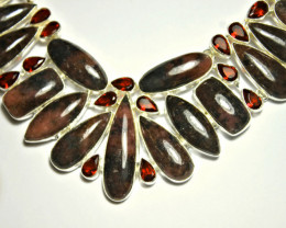 504.0 Tcw. Rhodonite, Sterling Silver Necklace - Gorgeous