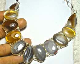 442.5 Tcw. Natural Agate Sterling Silver Necklace - Gorgeous
