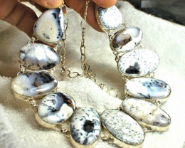 531.5 Tcw. Sterling Silver, Gold Plate, Dendritic Opal Necklace - Gorgeous