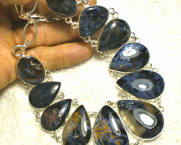 511.5 Tcw. Pietersite, Sterling Silver Necklace - Gorgeous