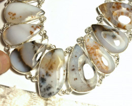 559.0 Tcw. African Agate Sterling Silver Necklace - Gorgeous
