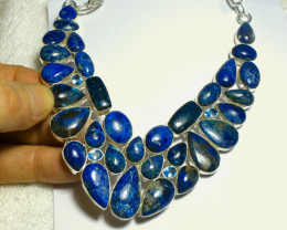 604.0 Tcw. Natural Azurite, Sterling Silver Necklace - Gorgeous