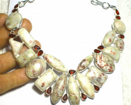 442.0 Tcw. African Cinnabar, Sterling Silver Necklace - Gorgeous