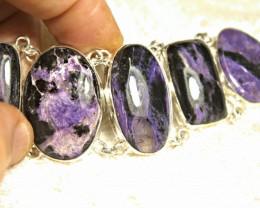 326.5 Tcw. Charoite, Sterling Silver Bracelet - Gorgeous