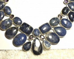413.0 Tcw. Sodalite, Sterling Silver Necklace - Gorgeous