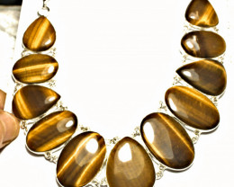 545.5 Tcw. Tiger Eye, Sterling Silver Necklace - Gorgeous
