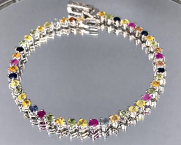 Natural Multi Color Sapphire 925 Silver Bracelet by DANI Jewellery