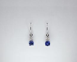 Tanzanite & Diamond Earrings, 14k White Gold