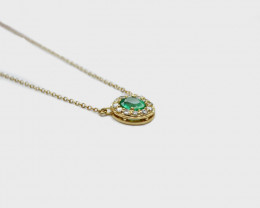 Emerald & Diamond Halo Necklace, 14k Gold
