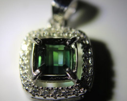 Green Tourmaline .85ct White Gold Finish Solid 925 Sterling Silver Pendant,