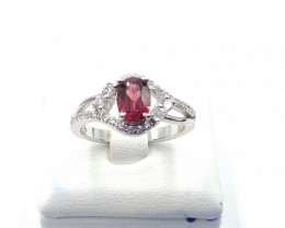 NATURAL RHODOLITE 925% SILVER RING F 29