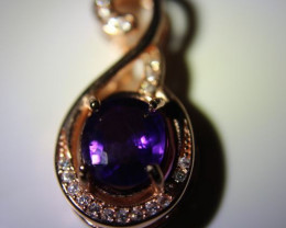 Amethyst 1.24ct Rose Gold Finish Solid 925 Sterling Silver Pendant