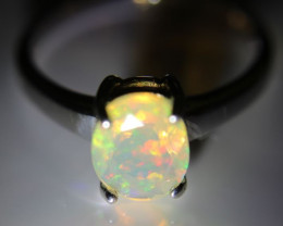 Orange Opal 1.20ct Platinum Finish Solid 925 Sterling Silver Solitaire Ring