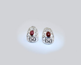 Sterling Silver & Garnet Filigree Earrings