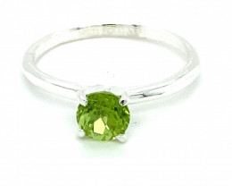 Peridot 1.21ct Platinum Finish Solid 925 Sterling Silver Solitaire Ring