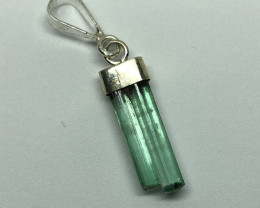 Natural Rough Crystal Tourmaline 925 Silver Pendant