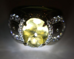 Citrine 5.80ct Platinum Finish Solid 925 Sterling Silver Ring       Size 8