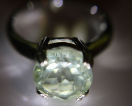 Prasiolite 3.40ct Platinum Finish Solid 925 Sterling Silver Solitaire Ring