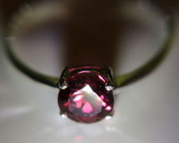 Rhodolite Garnet .80ct Platinum Finish Solid 925 Sterling Silver Ring