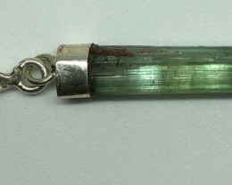 Natural Tourmaline Damage Free  Rough Crystal 925 Silver Pendant