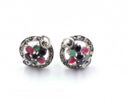 RUBY EMERALD SAPPHIRE MIXED 925 SILVER EARRING  A15