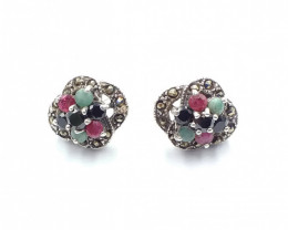 RUBY EMERALD SAPPHIRE MIXED 925 SILVER EARRING  A17