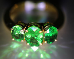 Tsavorite 3.66ct Solid 22K Yellow Gold Multistone Ring Good Inflation Hedge