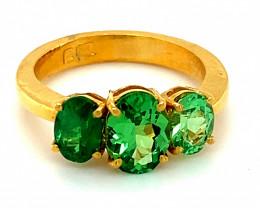 Tsavorite 3.66ct Solid 22K Yellow Gold Multistone Ring Good Inflation Hedge