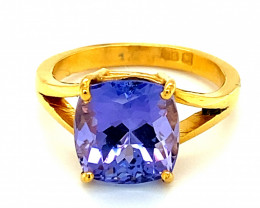 Tanzanite 5.37ct Solid 22K Yellow Gold Solitaire Ring Hard Asset Inflation