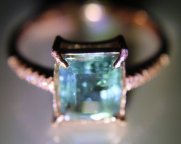 Blue Tourmaline 2.50ct Rose Gold Finish Solid 925 Sterling Silver Ring