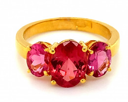 Red Mahenge Spinel 4.12ct Solid 22K Yellow Gold Multistone Ring     Size 8