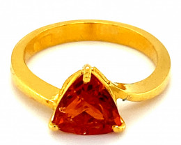 Spessartine Garnet 2.90ct Solid 22K Yellow Gold Solitaire Ring      Size 7