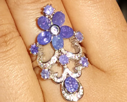 Gorgeous Natural Tanzanite Ring with CZ.