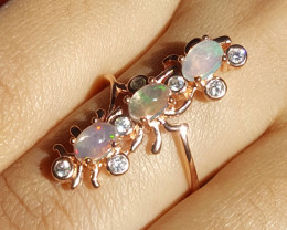 Natural triple Opal with CZ Ring.