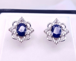 Beautiful  Blue Sapphire  and CZ Ear studs.