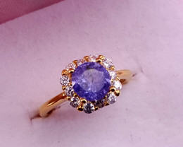 Natural Tanzanite Ring with CZ Gold plated.